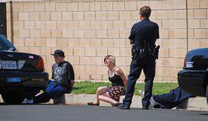 police stop and frisk scene