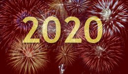 Happy new year 2020 with firework on sky