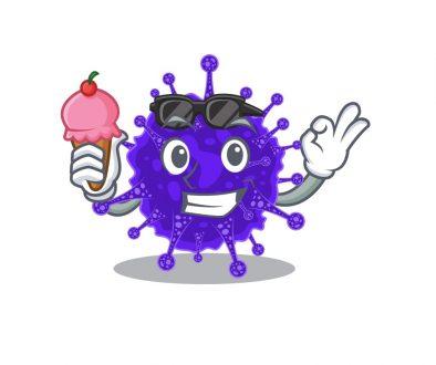 Cartoon design concept of nidovirales having an ice cream
